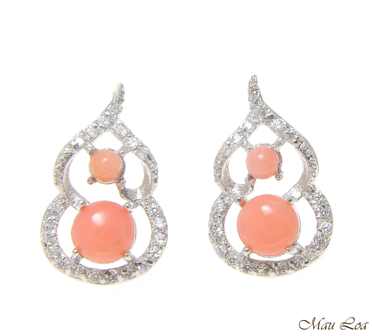 925 Sterling Silver Rhodium CZ Genuine Natural Pink Coral Post Stud Earrings