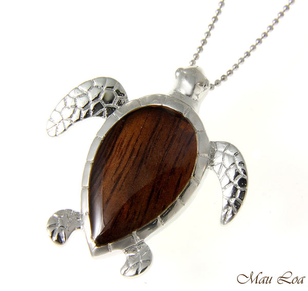 Koa Wood Hawaiian Honu Sea Turtle Rhodium Silver Plated Brass Slide Pendant