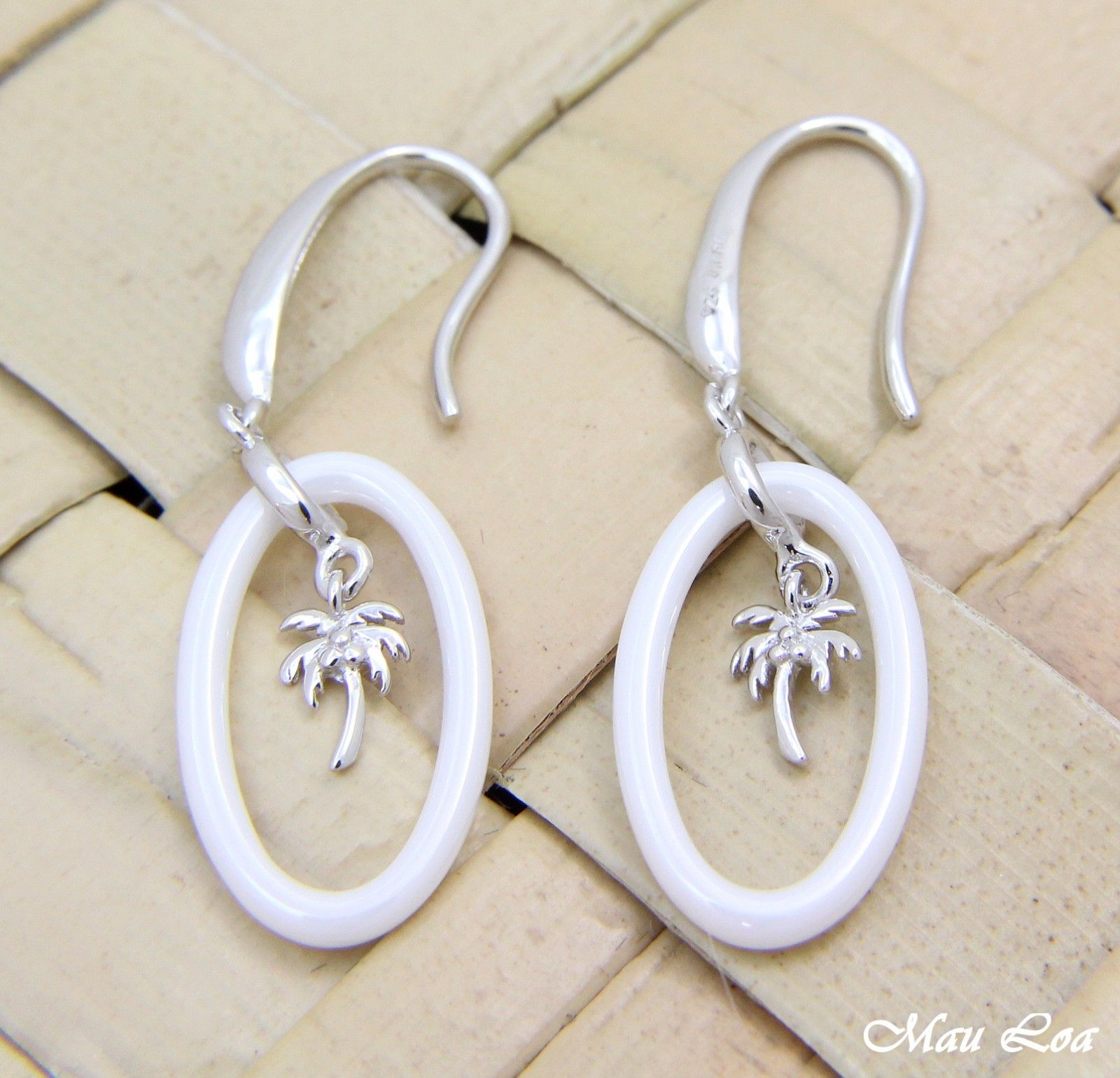 925 Sterling Silver Rhodium Hawaiian Palm Tree White Ceramic Oval Hook Earrings