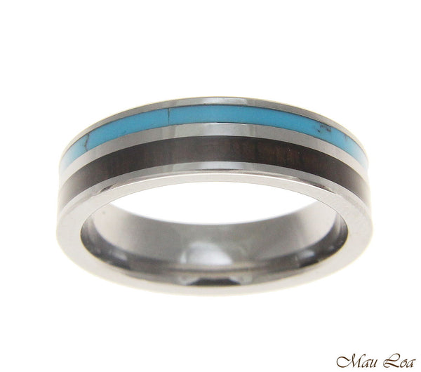 Tungsten 6mm Wedding Band Ring Turquoise Hawaiian Koa Wood Comfort Fit Size 5-13