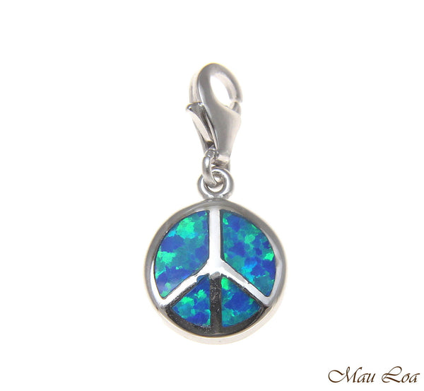 925 Sterling Silver Rhodium Peace Sign Blue Opal Clasp Enhancer Pendant Charm