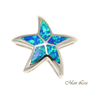 925 Sterling Silver Rhodium Hawaiian Sea Star Starfish Blue Opal Slider Pendant