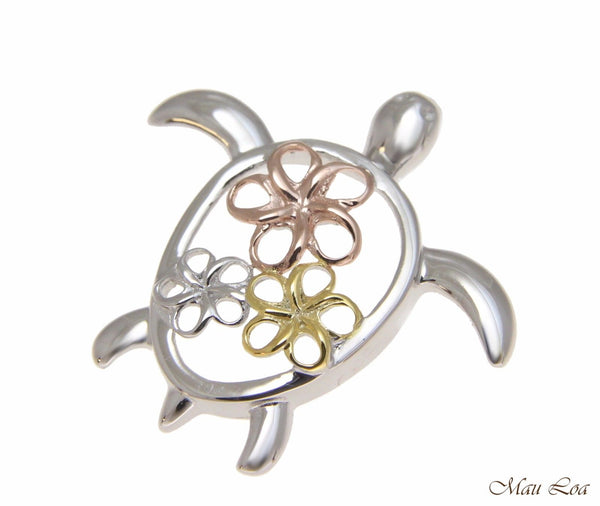 925 Sterling Silver Tricolor Hawaiian Plumeria Flower Turtle Honu Slider Pendant