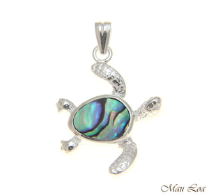 925 Sterling Silver Hawaiian Honu Sea Turtle Abalone Paua Shell Pendant