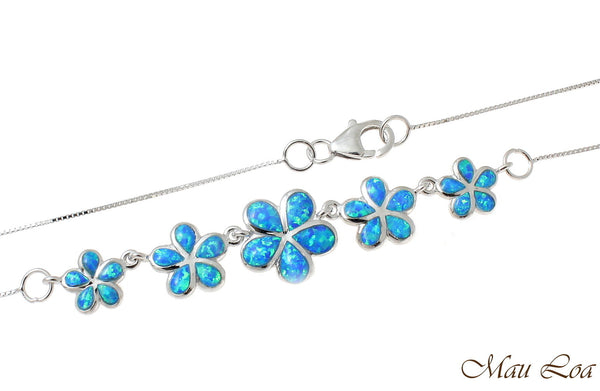 925 Silver Rhodium Hawaiian 5 Plumeria Flower Blue Opal Box Chain Necklace 18""
