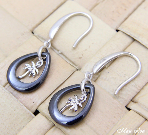 925 Silver Rhodium Hawaiian Palm Tree Black Ceramic Tear Drop Hook Earrings