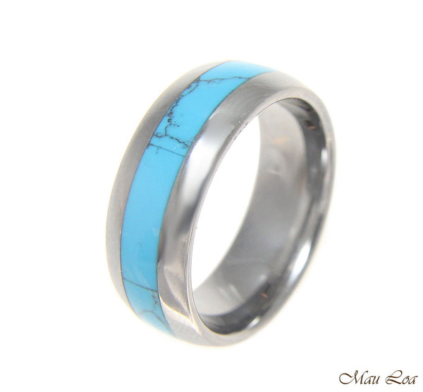 Tungsten 8mm Wedding Band Ring Unisex Blue Turquoise Inlay Comfort Fit Size 5-14