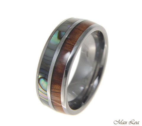 Tungsten 8mm Wedding Band Ring Abalone Hawaiian Koa Wood Comfort Fit Size 6-14