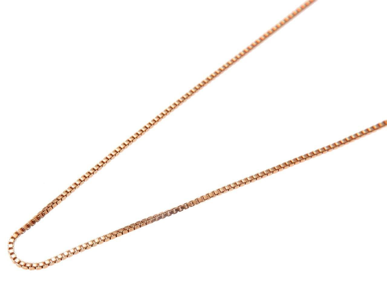 "Pink Rose Gold on 925 Sterling Silver Italian 1mm Box Chain Necklace 16"" 18"" 20"""
