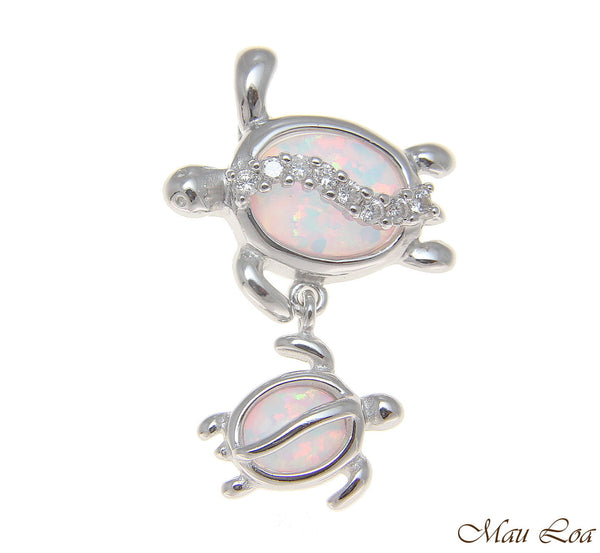 925 Silver Rhodium Hawaiian Honu Turtle Family Mom Baby Opal CZ Slider Pendant