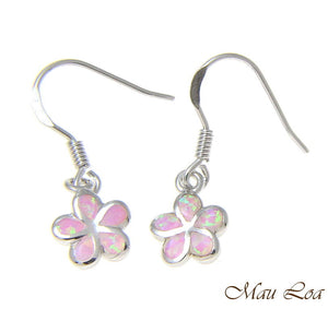 925 Silver Rhodium Hawaiian Plumeria Flower Pink Opal Wire Hook Earrings 8-15mm