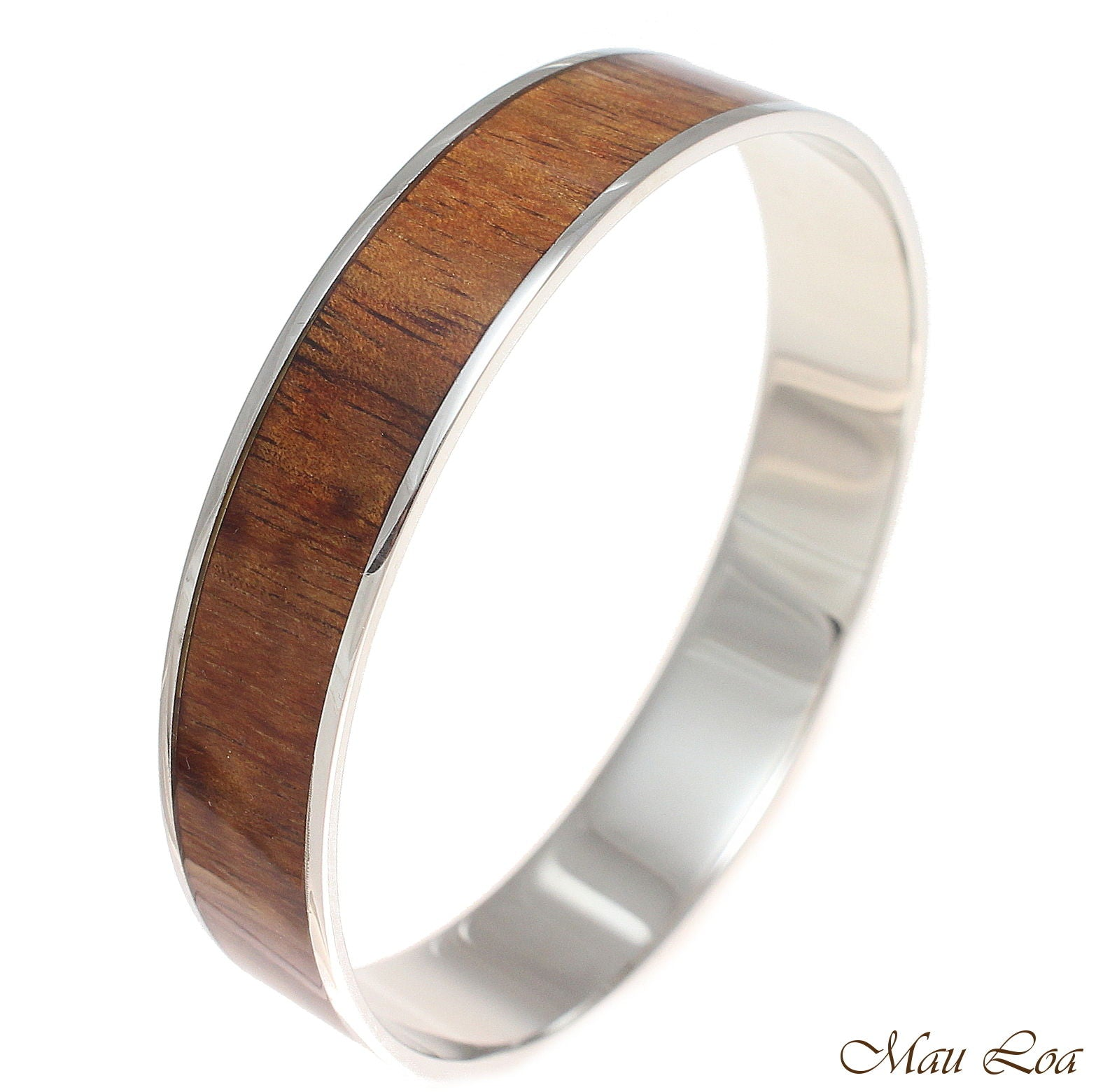 12mm Hawaiian Koa Wood Rhodium Plated on Brass Bangle Bracelet Size 7 - 9