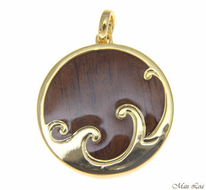 Koa Wood Hawaiian Scroll Ocean Surf Wave Yellow Gold Brass Reversible Pendant