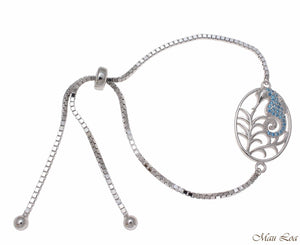 Silver 925 Blue Topaz Hawaiian Seahorse Sliding Adjustable Bead Chain Bracelet