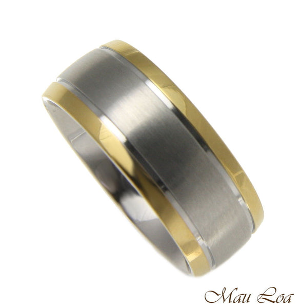 Stainless Steel Ring Wedding Band 8mm Yellow Gold Line Silver Color Size 5-13