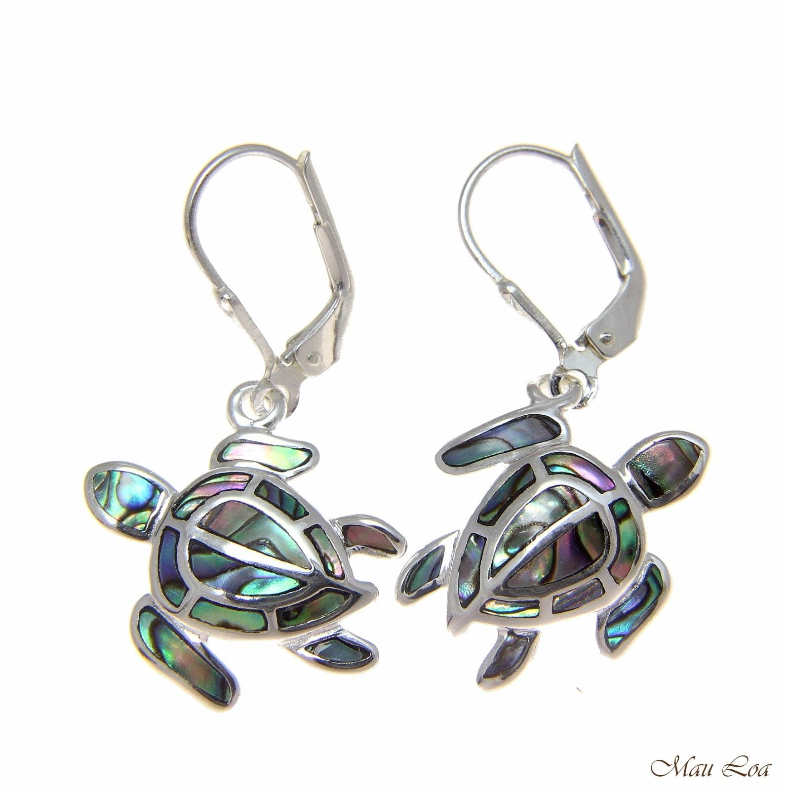 925 Sterling Silver Hawaiian Honu Turtle Abalone Shell Paua Leverback Earrings