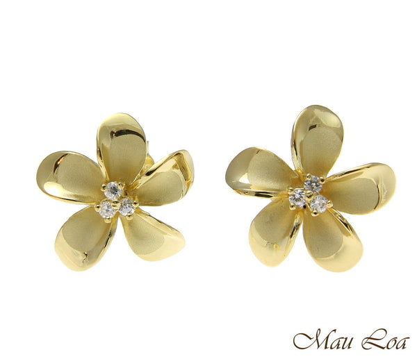 925 Sterling Silver Yellow Gold Hawaiian Plumeria Flower 3 CZ Stud Post Earrings