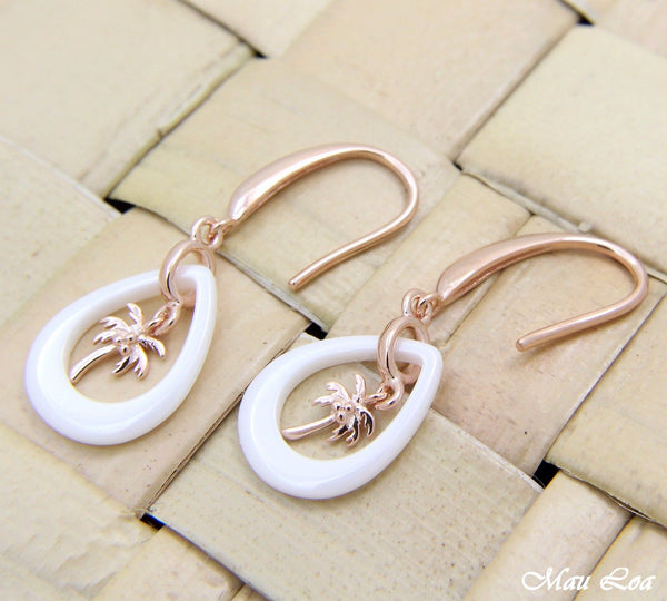 925 Silver Pink Rose Gold Hawaiian Palm Tree White Ceramic Tear Drop Earrings