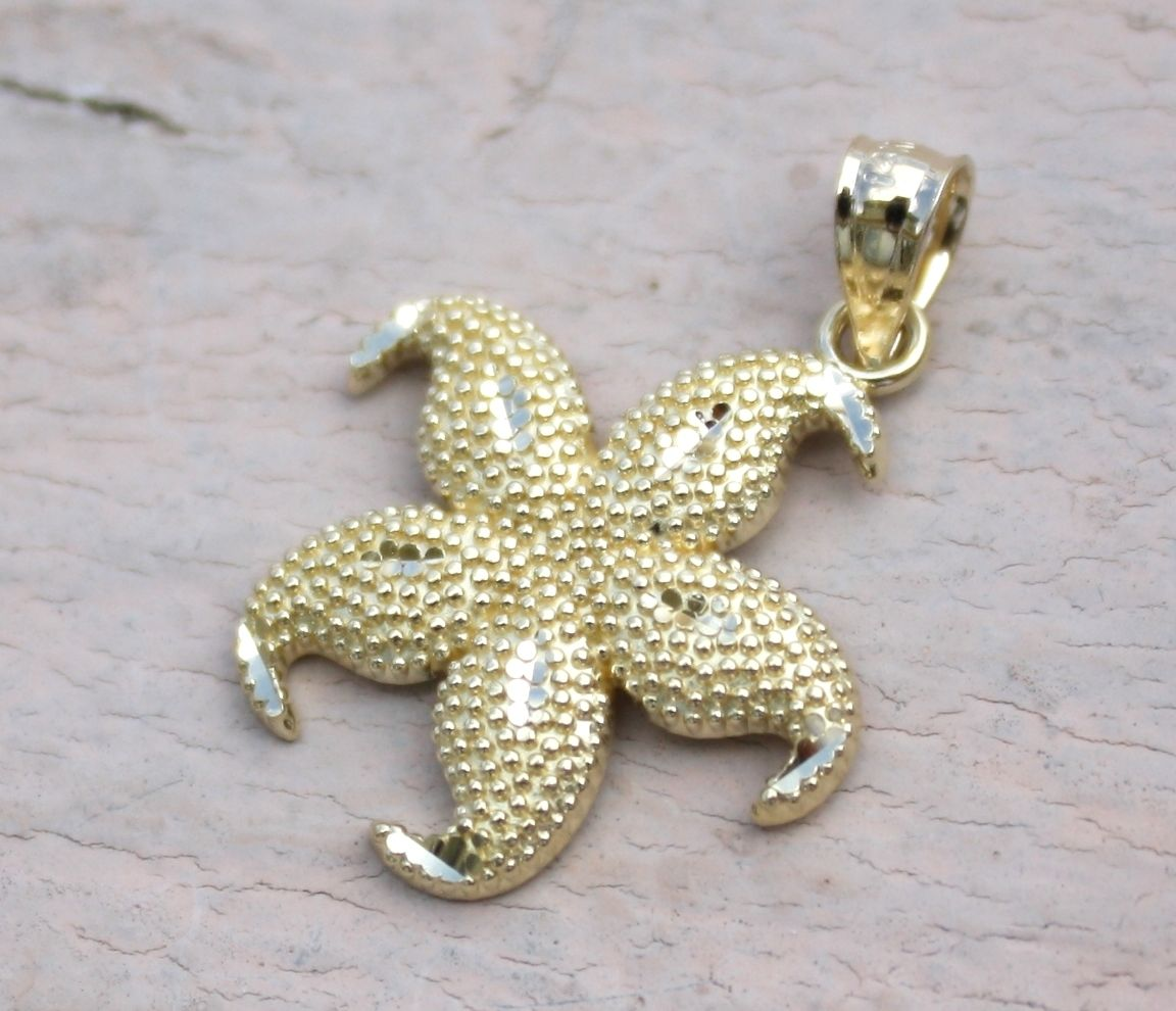 14K Yellow Gold Hawaiian Jewelry Sea life Star Fish 17mm Diamond Cut Pendant