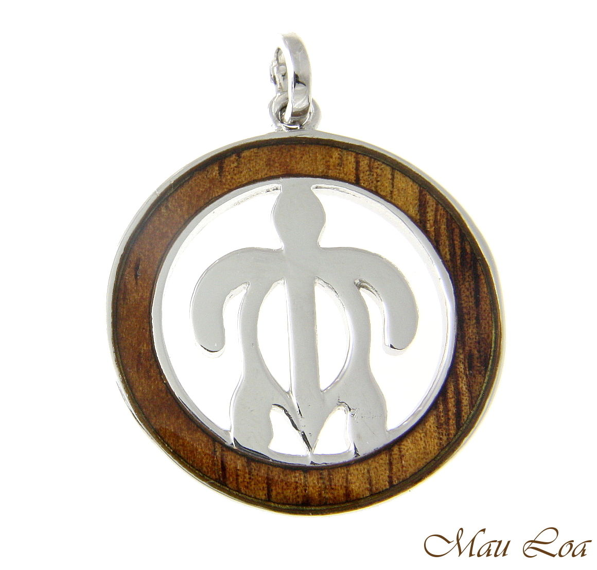 Koa Wood Hawaiian Circle Round Honu Sea Turlte Rhodium Brass Pendant Charm