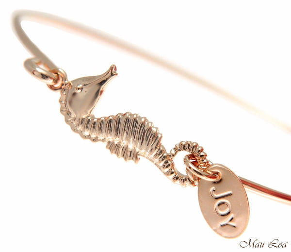 Pink Rose Gold Plated on Brass Hawaiian Seahorse Open Bangle Bracelet