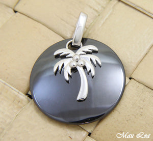 925 Silver Rhodium Hawaiian Coconut Palm Tree Black Ceramic Circle Round Pendant