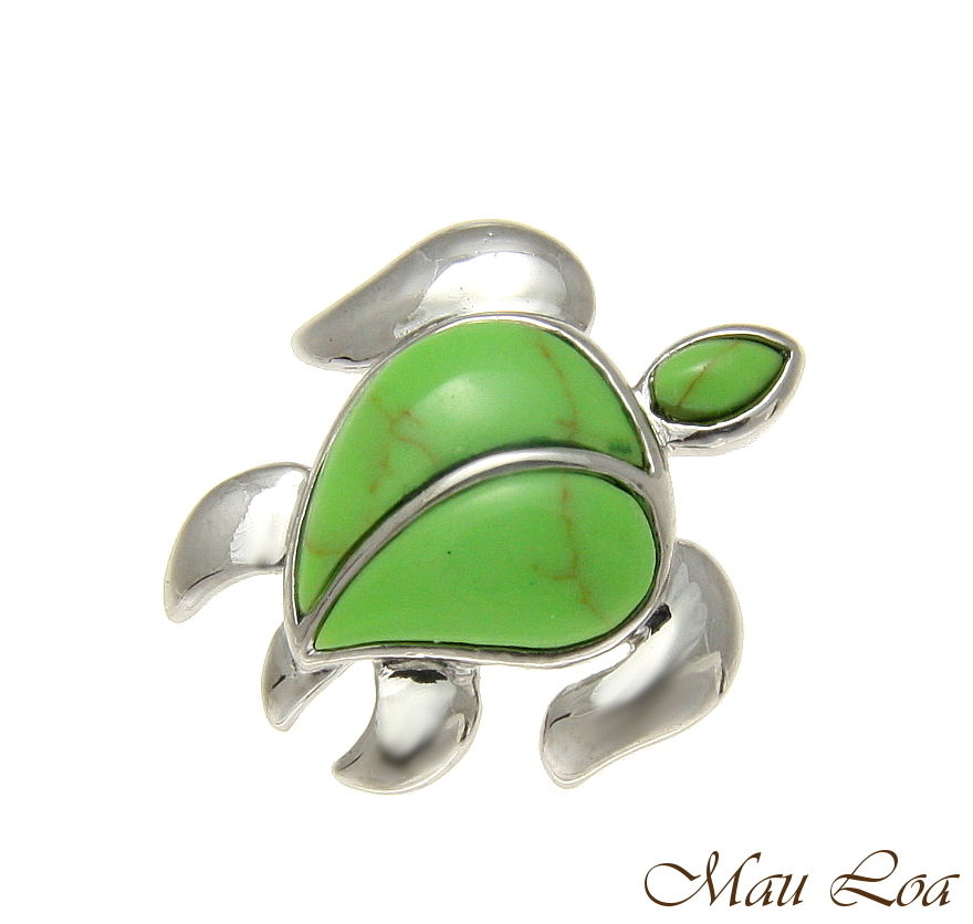 925 Silver Rhodium Hawaiian Honu Sea Turtle Green Turquoise Slider Pendant