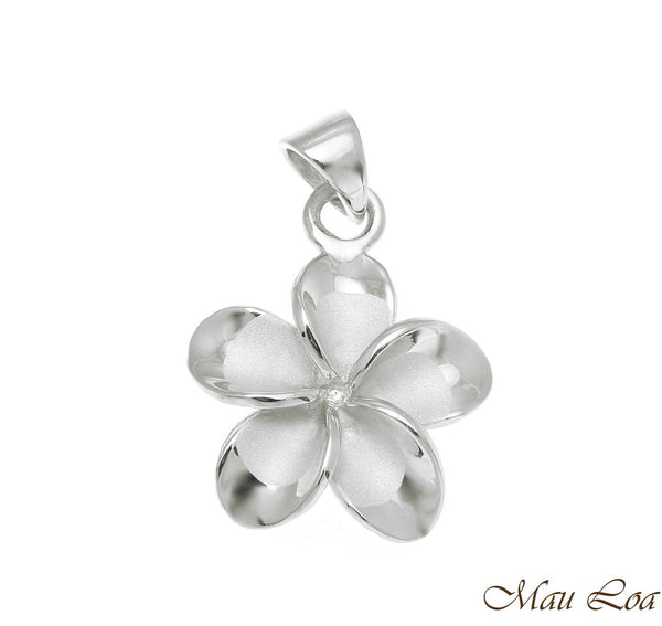 925 Sterling Silver Rhodium Hawaiian Plumeria Flower No CZ Stone Pendant 10-25mm