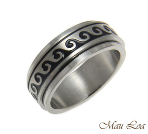 Stainless Steel Spinner Ring Band 8mm Black Enamel Hawaiian Ocean Wave Size6-14