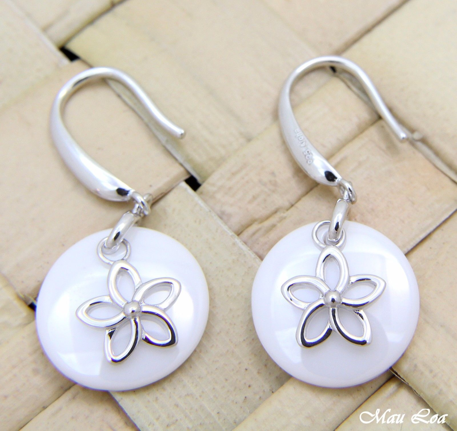 925 Silver Rhodium Hawaiian Plumeria Flower White Ceramic Circle Hook Earrings