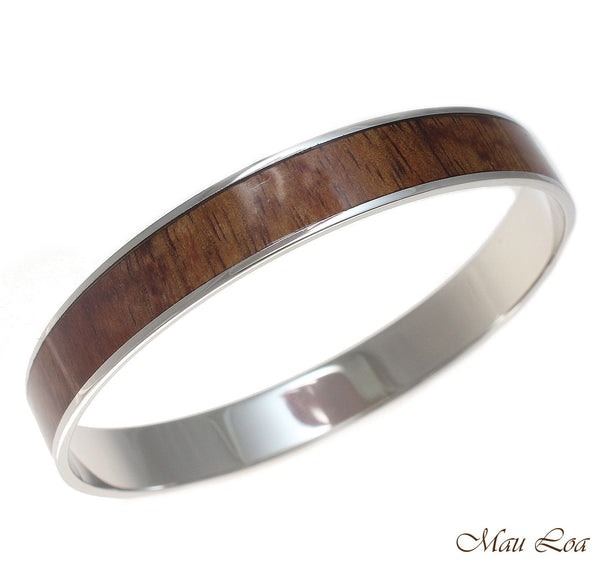 10mm Hawaiian Koa Wood Rhodium Plated on Brass Bangle Bracelet Size 7 - 9