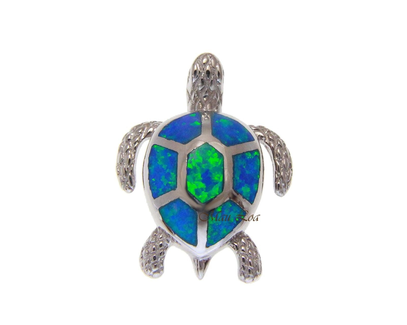 925 Sterling Silver Hawaiian Honu Sea Turtle Blue Opal Slider Pendant