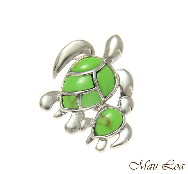 925 Silver Rhodium Hawaiian Honu Turtle Family Mom Baby Turquoise Slider Pendant