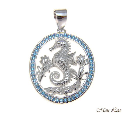925 Silver Genuine Blue Topaz Hawaiian Sealife Seahorse Starfish Pendant