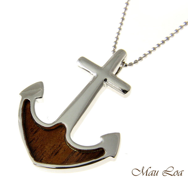 Koa Wood Hawaiian Boat Anchor Rhodium Silver Plated Brass Slide Pendant
