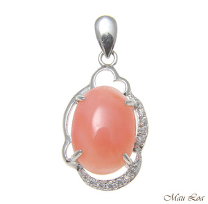 925 Sterling Silver Rhodium CZ Genuine Natural Oval 10x14mm Pink Coral Pendant