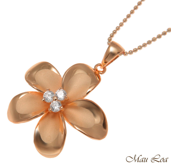 925 Sterling Silver Pink Rose Gold Hawaiian Plumeria Flower 3 CZ Pendant 12-30mm