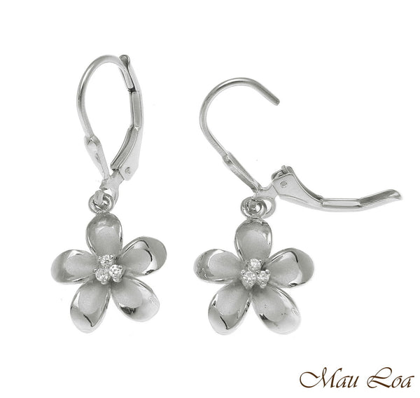 925 Sterling Silver Rhodium Hawaiian Plumeria Flower 3 CZ Leverback Earrings