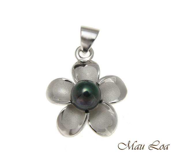 925 Silver Hawaiian Plumeria Flower Fresh Water Pearl Rhodium Pendant 12-32mm