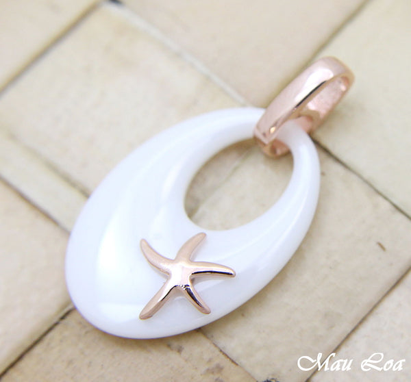 925 Silver Pink Rose Gold Hawaiian Starfish Sea Star White Ceramic Oval Pendant