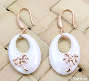 925 Silver Pink Rose Gold Hawaiian Palm Tree White Ceramic Oval Hook Earrings