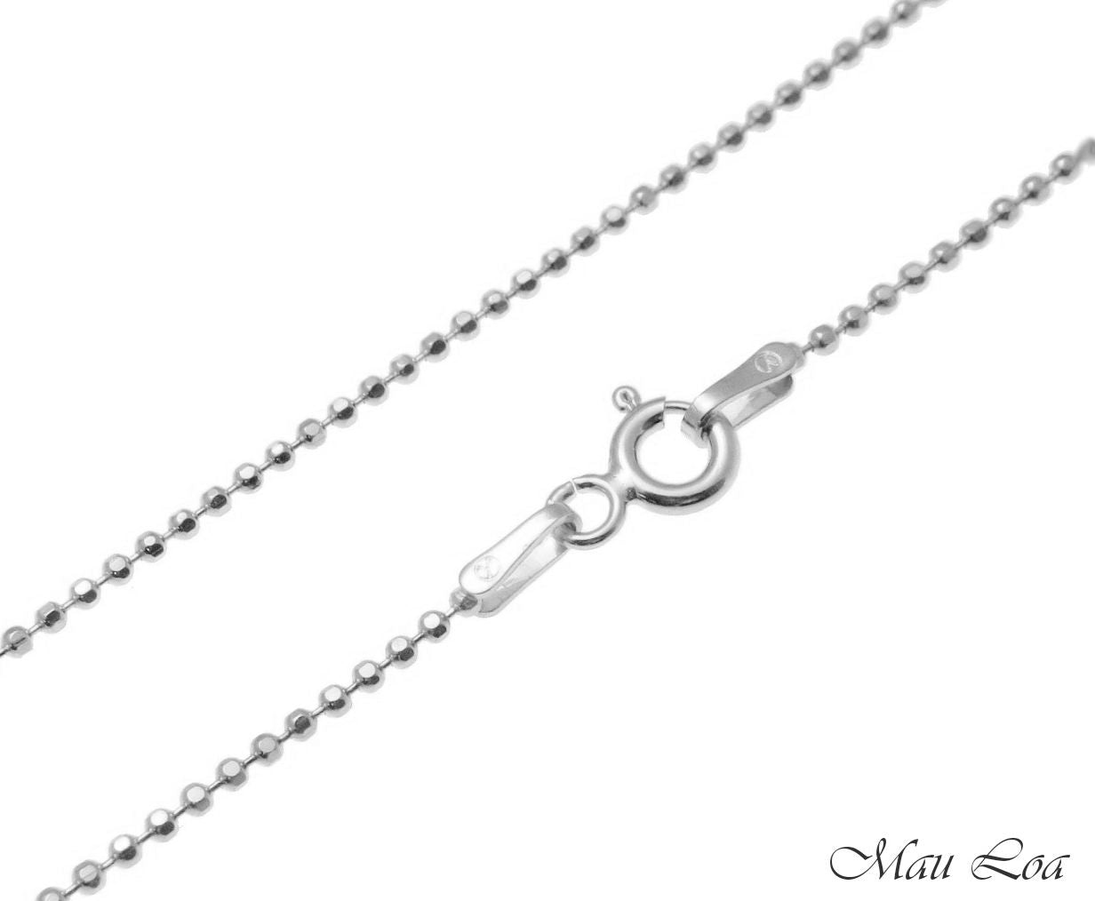 "Sterling Silver 925 Rhodium Italian 1.2mm Ball Bead Chain Necklace 16"" 18"""