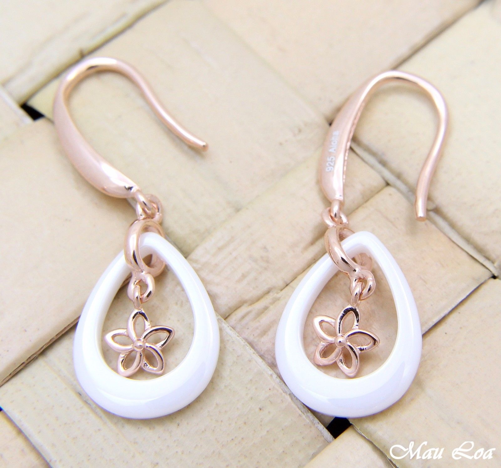 925 Silver Pink Gold Hawaiian Plumeria Flower White Ceramic Tear Drop Earrings