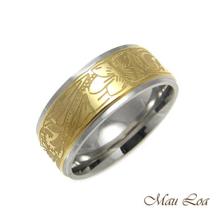 Stainless Steel Ring Band 8mm Yellow Gold Color Hawaiian Plumeria Scroll Sz5-13