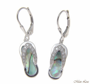 925 Sterling Silver Hawaiian CZ Slipper Abalone Shell Paua Leverback Earrings