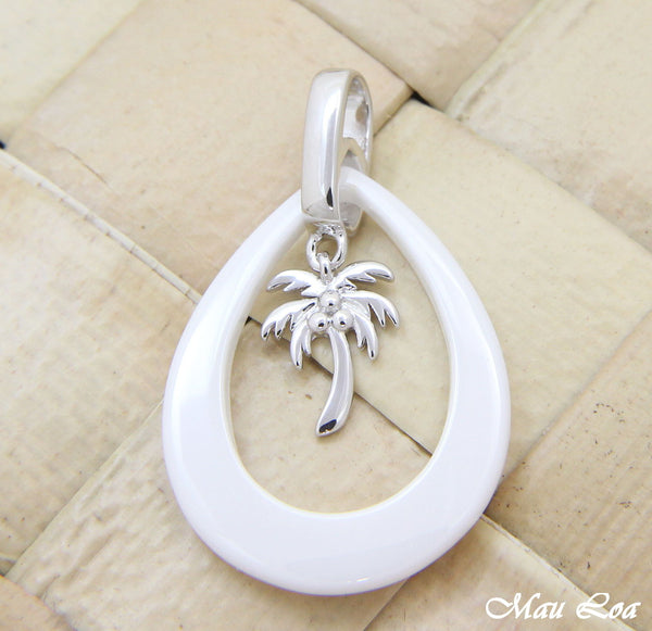 925 Silver Rhodium Hawaiian Coconut Palm Tree White Ceramic Tear Drop Pendant