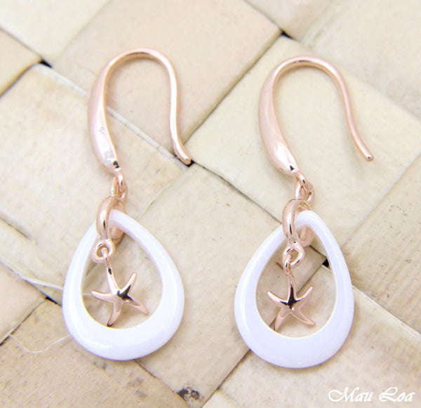 925 Silver Pink Gold Hawaiian Starfish Sea Star White Ceramic Tear Drop Earrings