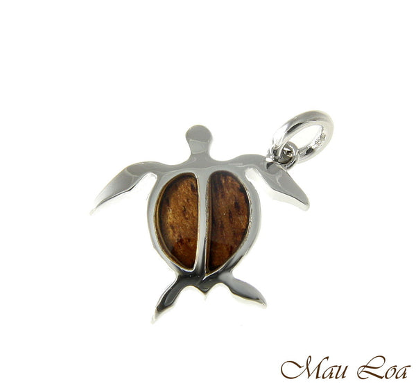 Koa Wood Hawaiian Honu Sea Turtle Rhodium Silver Plated Brass Pendant Small