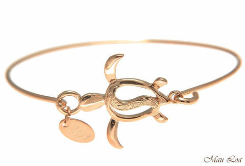 Pink Rose Gold Plated on Brass Hawaiian Scroll Honu Turtle Open Bangle Bracelet