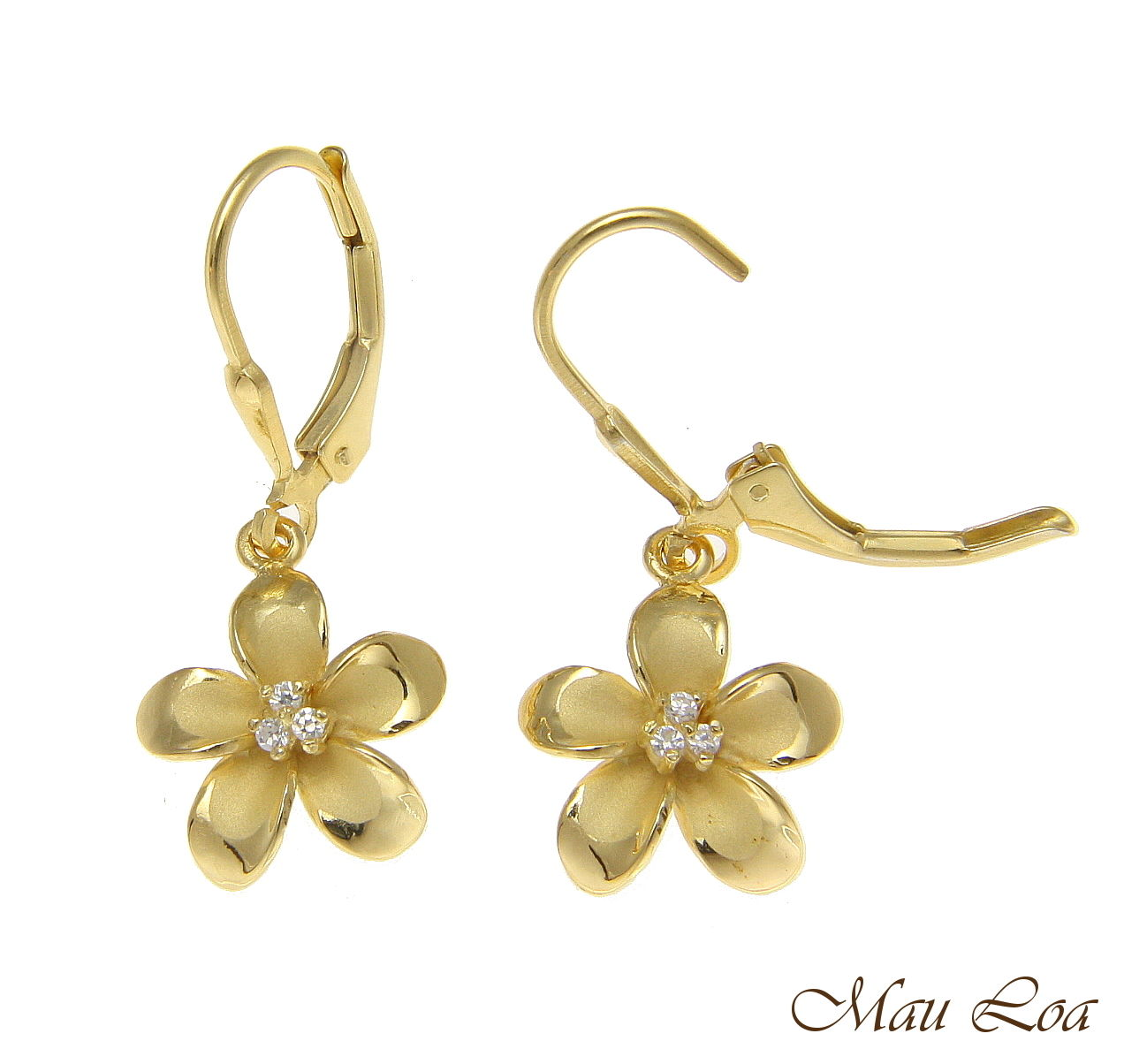 925 Sterling Silver Yellow Gold Hawaiian Plumeria Flower 3 CZ Leverback Earrings
